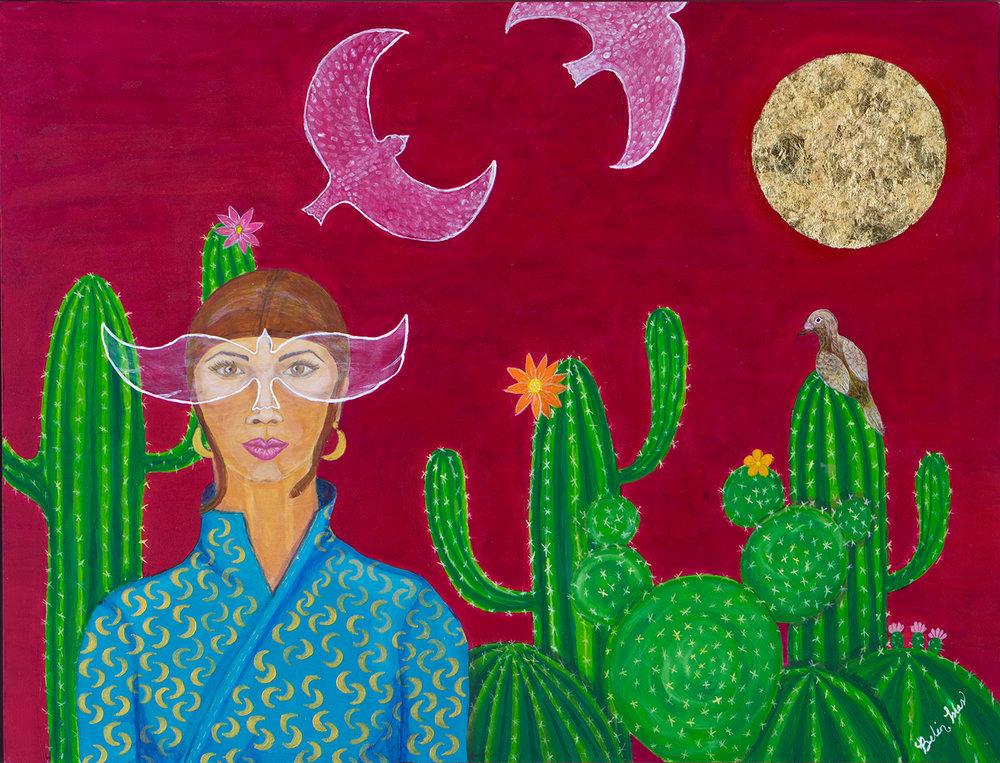 "Lady Bird   Acrylic painting on Panel / Board / MDF  by  Belen Islas   Size: 25 x 19""    $1,750.00"