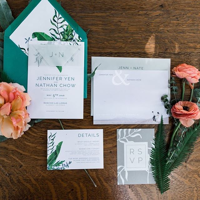 This is WAAAAAAYYYYYYY overdue but I wanted to share this custom modern, botanical suite we designed for Jennifer and Nathan's big day back in May. Loved this couples style and vision that we carried out through their stationery and day of details!  Planning | @arielleaortega @lvlweddings  Photography | @lukasgriffin  Video | @goldandgumption  Florals | @foxtail_florals  Catering | @24carrotscatering  Dessert | @noellessweetsandtreats  Beauty | @kellyzhangstudio  Entertainment | @nightowlproductions Venue | @rancholaslomas