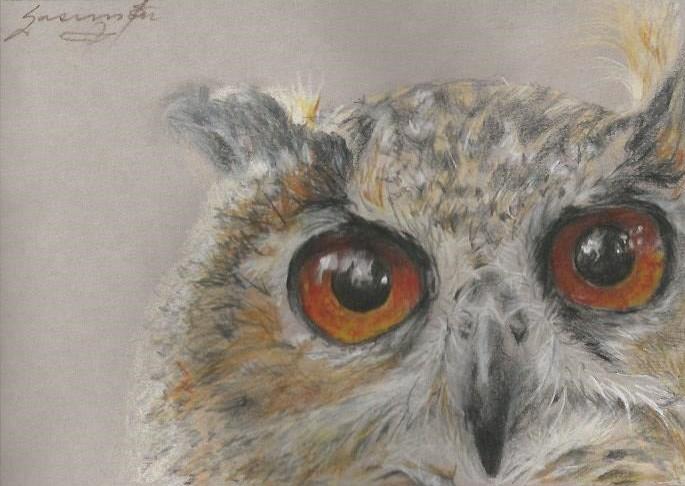 "Owl 4, Fluffy ear, large, orange eyes, 4.75 x 6.75"", SOLD"
