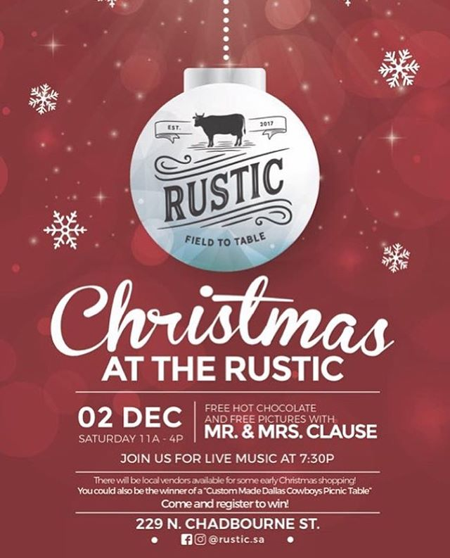 #sanangelotx Join us at Christmas with Rustic food truck THIS SATURDAY! Pictures with Santa (let's see if you've been naughty or nice), food, music, and local vendors. We'll be there with bells on 🎊 #naturallydope #hippieholidays