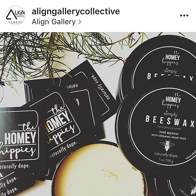 Yo! We're back at it again with @aligngallerycollective  for their Holiday Pop-Up!! This Saturday, it's going down, Los Angeles. Keep your holidays green with a candle from @thehomeyhippies 💚 SWIPE to learn why beeswax is simply better. That scented paraffin candle you're burning is a petroleum by product and quite the opposite of all a dis. #naturallydope #hippieholidays #beeswaxcandles #giftsunder20