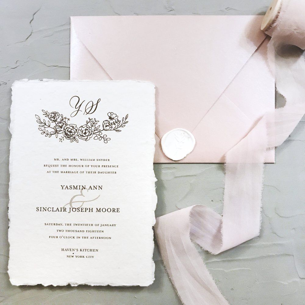 WEDDING STATIONERY: Custom designed invitation suites with hand drawn elements, with embellishments (wax seals, ribbons,  belly bands)