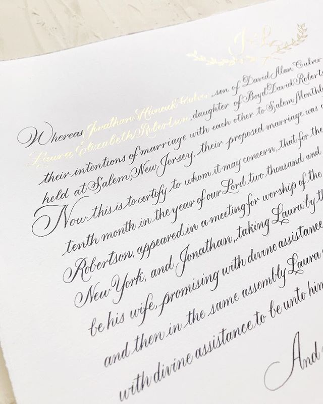 Here's a close up of the wedding certificate I shared two weeks ago! Peep the finetec gold details and crest that is basically impossible to photograph. It was incredible to have had such an intimate part in this sweet wedding! ⠀⠀⠀⠀⠀⠀⠀⠀⠀
