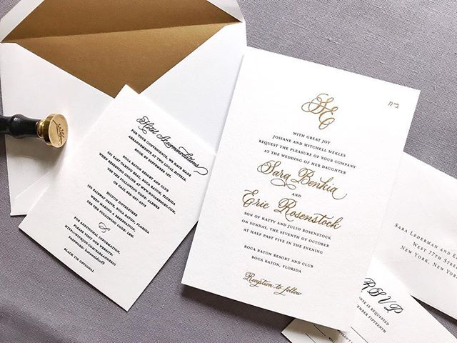 """The two Hebrew letters at the top right corner of this invitation read """"bet hey,"""" which stands for B'ezrat Hashem, meaning """"with the help of God."""" This observant couple included this little reminder on their invitation as a reminder that everything they do is done with the aid of God. I love that! ⠀⠀⠀⠀⠀⠀⠀⠀⠀"""