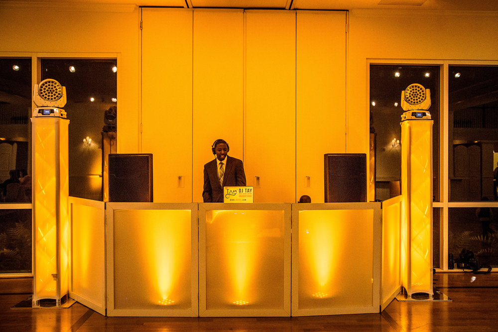 DJ Setup with Dance Floor Lighting & DJ Facade - Photographed by  Phrozen Memories Photography