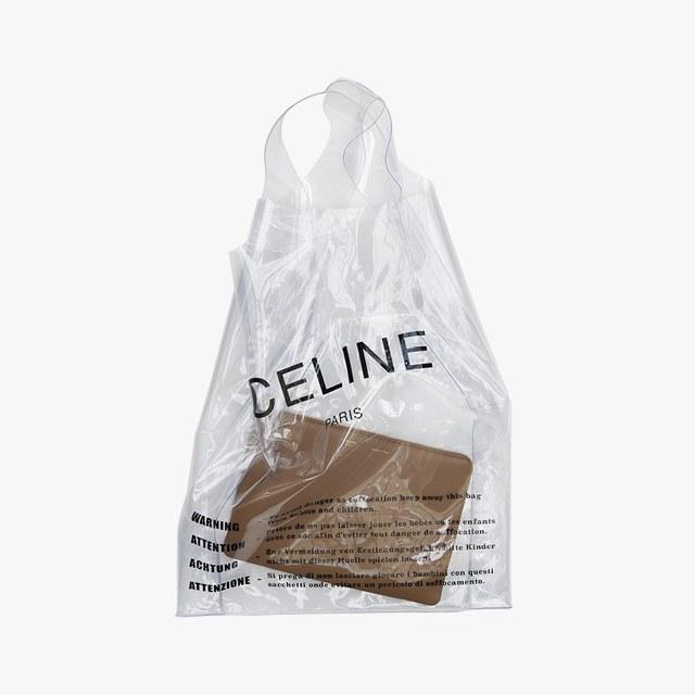 Céline plastic bag, $590,  celine.com .