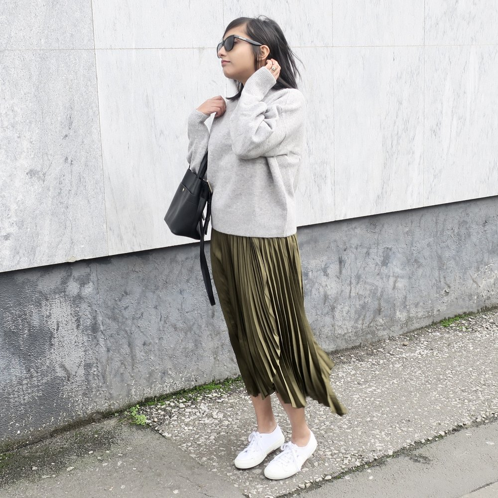 & Other Stories Mock Neck Sweater (£35) ,  & Other Stories Pleated Wrap Midi Skirt (£59) ,  Superga 2750 Classic Canvas Trainers (£50)