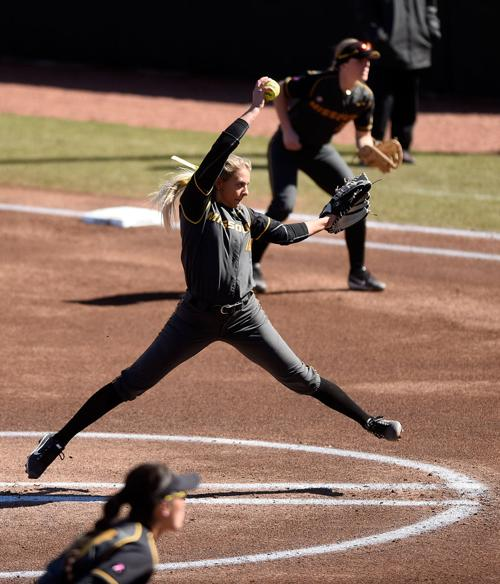 Missouri junior Danielle Baumgartner throws a pitch during the first inning of Saturday's game against Southeastern Louisiana at Mizzou Softball Stadium. Baumgartner tossed three innings in the 6-4 win for MU.
