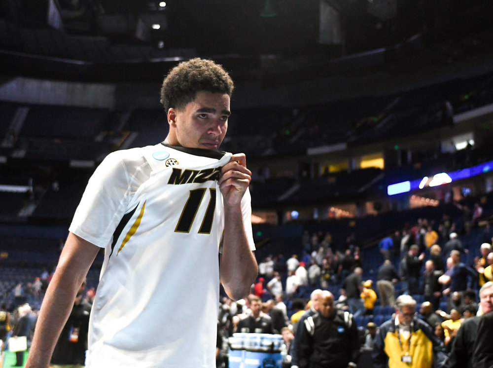 Missouri forward Jontay Porter walks off the court after Missouri's loss to Florida State in the first round of NCAA Tournament play Friday in Nashville, Tenn. Porter finished with two points and six rebounds.