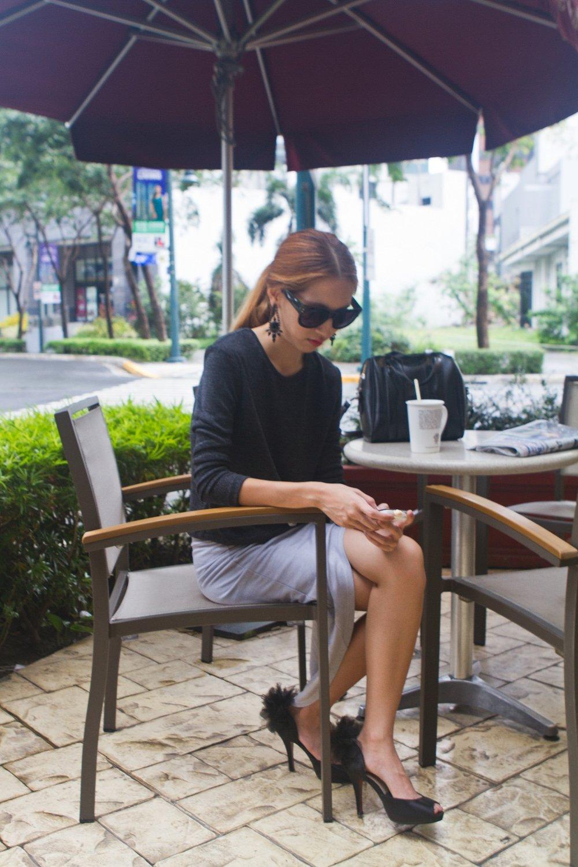 Shopping Thrifty OOTD Sweater Asymmetrical Skirt Pom-pom Heels