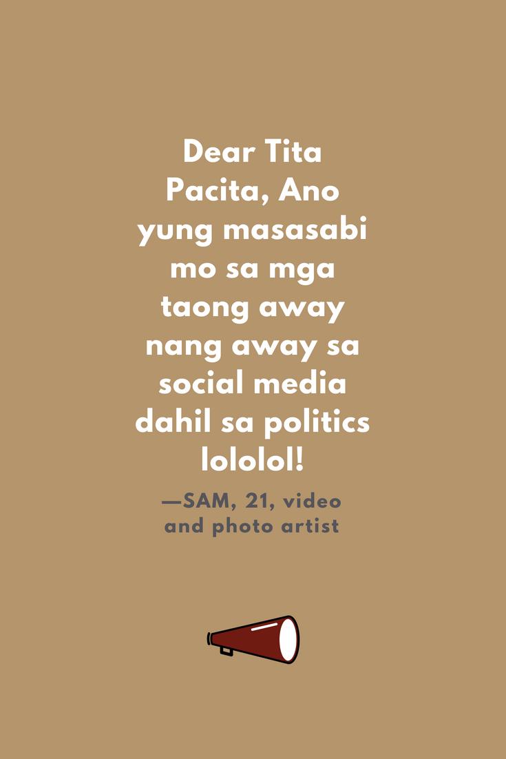 SOCIAL MEDIA AND POLITICS DEAR TITA PACITA