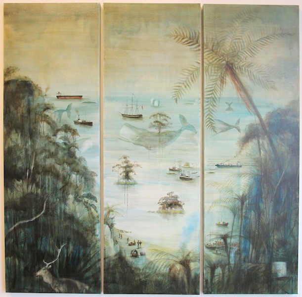 Confluence – Rakiura Screen, 2015 Three panel acrylic on canvas Courtesy Solander Gallery, Wellington