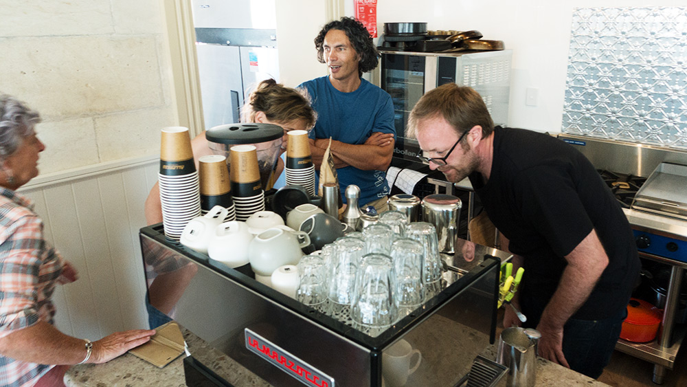 Barista Peter Trevelyan, Kate White's Waitaki Braids Lodge, Kurow