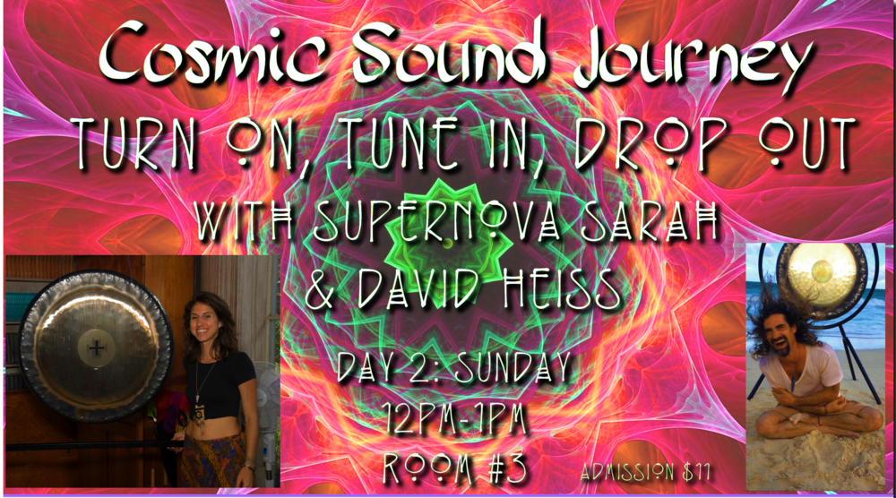 Turn On, Tune In, Drop Out - Relax, lay back & Drop Out of the day to day responsibilities. Allow your self to Tune In to the Sacred Sound of the Gongs, Crystal & Tibetan Singing Bowls and more as we Turn On and Upgrade our physical and energetic bodies to the natural Intelligence and power within. This is about You. This is about Rejuvenation.This is about Remembering your Power.Sunday (Day 2)12pm-1pm in Room #3 (Maui Room)