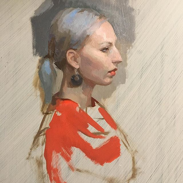 On the easel today #portrait #reddress #wip