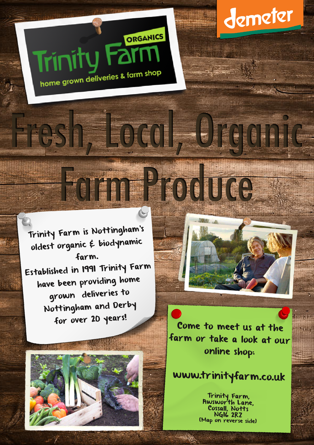 JGP designed this flyer. However, it contains promotional images owned by Trinity Farm Ltd which JGP used with their permission.