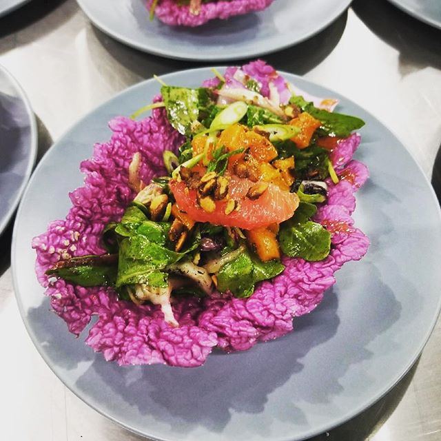 "Our ""psychedelic"" salad from Sunday's dinner. Red Napa, Arugula, Grapefruit, Marinated Beets, Candied Pepita, Chile Vin. Thanks to @wishingstonefarm for the beautiful colors."