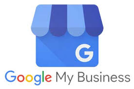 Google My Business logo, blue square with light and dark blue striped canvas grocer cover.