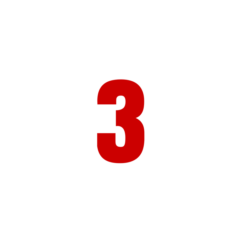 The number 3 in bold red font