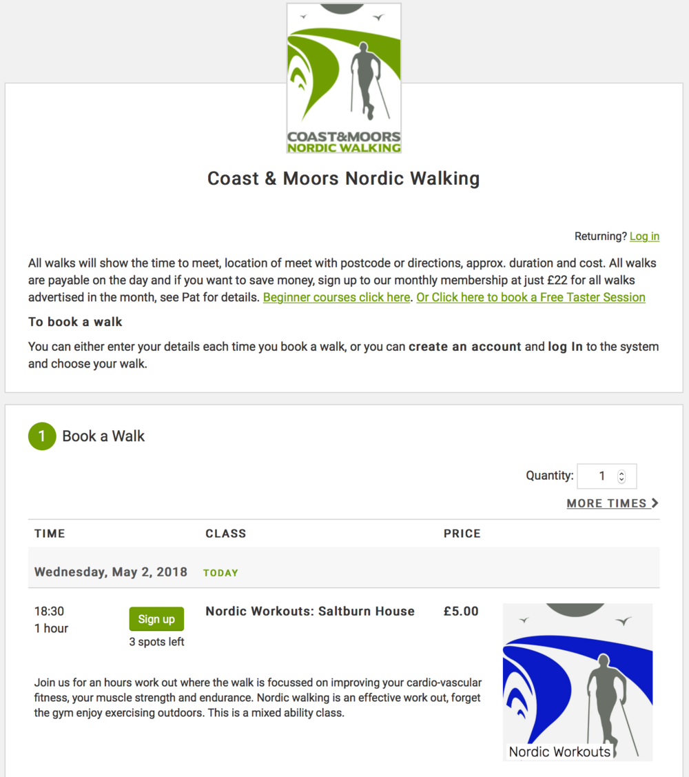 Coast and Moors Nordic Walking Booking System Image