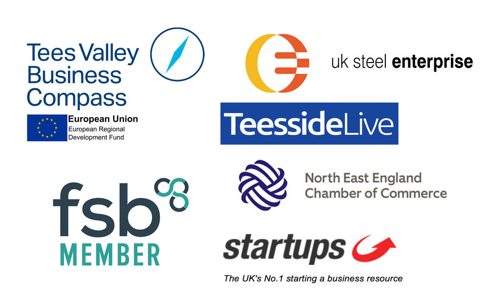 Logos and badges of Tees Valley Business Compass, UK Steel Enterprise, Teesside Live, Startups.co.uk, North East England Chamber of Commerce and FSB (Federation Small Businesses)