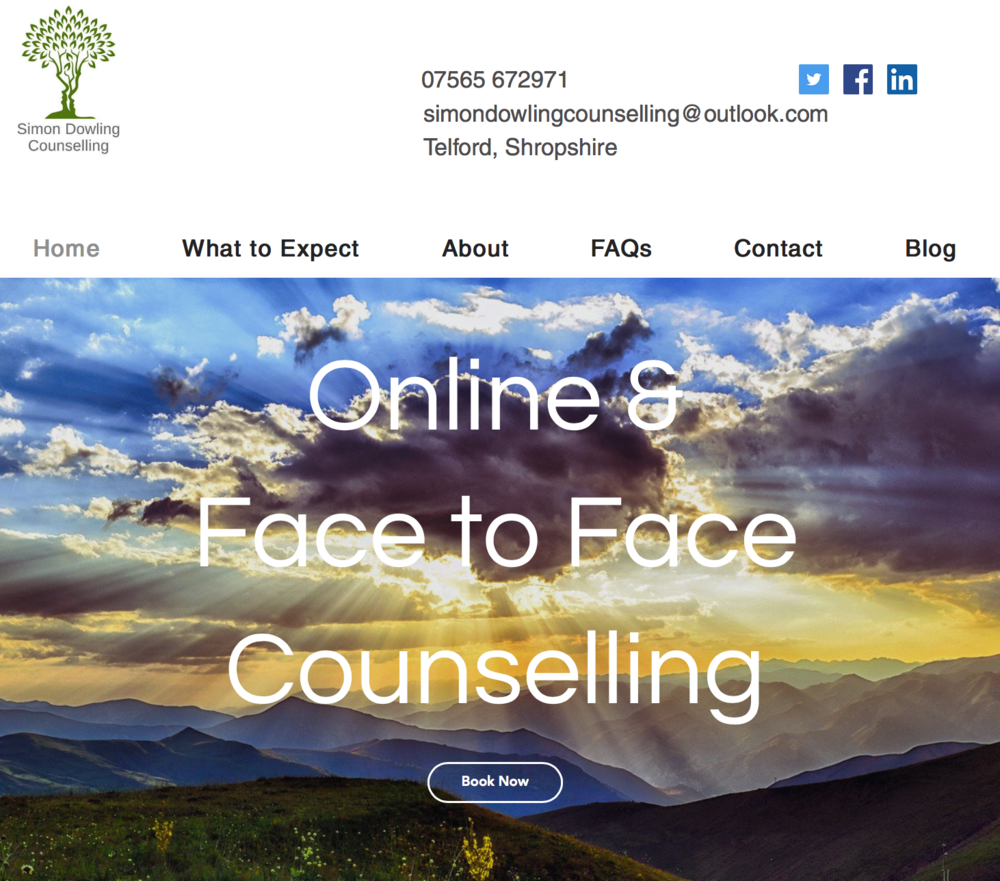 Sunset over green rolling hills with white text saying Online and Face to Face Counselling, boo now button from Simon Dowling Counselling.