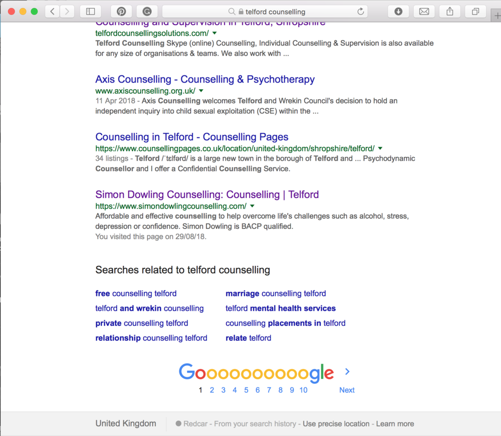Google search results for Telford Counselling showing Simon Dowling Counselling on page one of Google