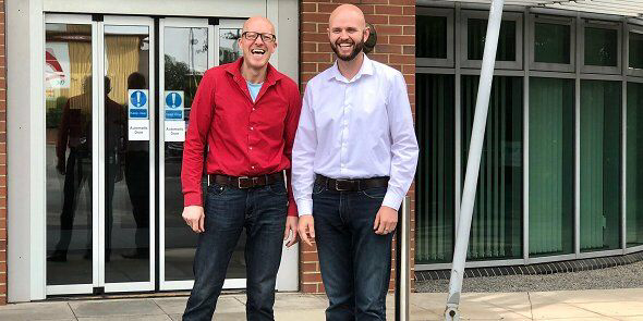Darren Winter and Matt Dowling from Duco Digital outside The Innovation Centre in Redcar