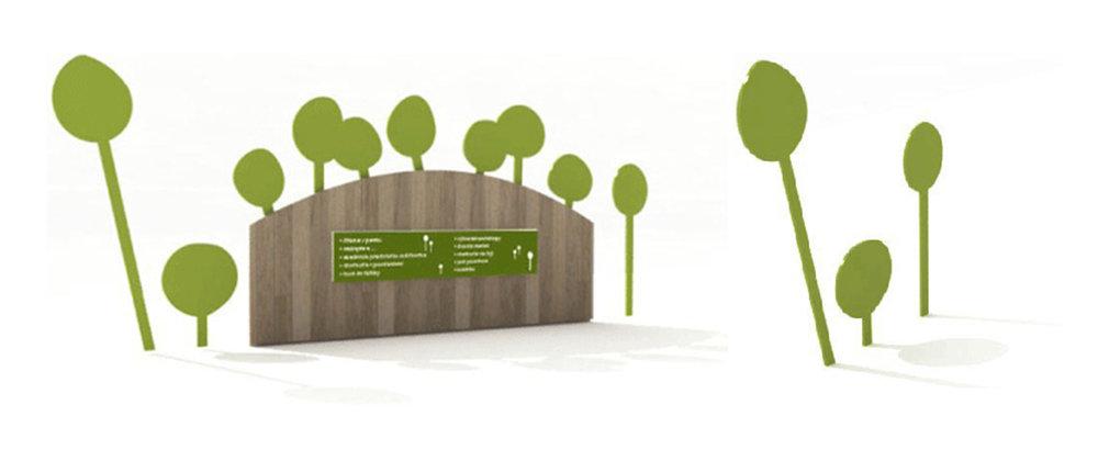 brána ihriska a prenosné tabule - stromček