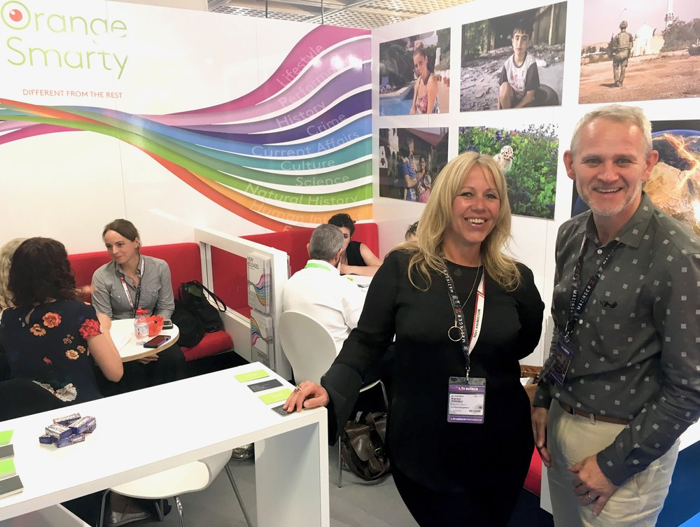 Karen Young  (MD - Orange Smarty) and  Andy Harwood  (VP, Business Development - Compact) at MIPCOM