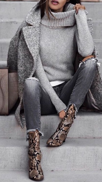 Statement Shoes - This monochromatic look paired with the snakeskin booties is genius. It's comfortable and chic all while adding the perfect amount of a big fall trend to enhance a basic look. Statement shoes, whether they are booties or flats, are a great way to upgrade a simple outfit. Animal print too much for you? Opt for a metallic or another color other than nude or black. Check out how different varieties of booties below help improve the aesthetic of the overall outfit.