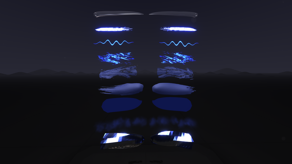 Examples of Tilt Brush stroke variations, painted on a symmetry axis