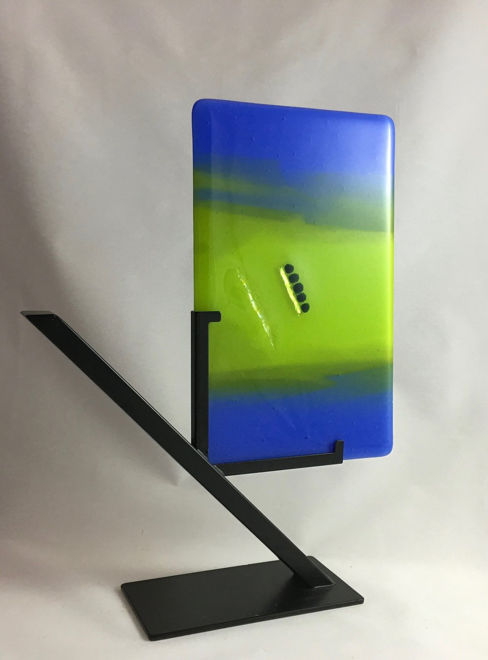 "Study in Blue and Green II - w/ stand: 12 1/2"" x 9 5/8"""