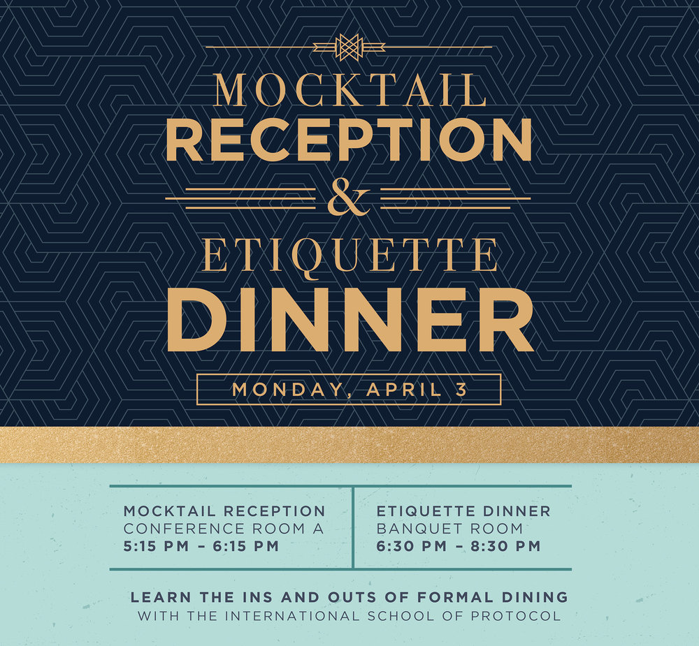 "MILE, in partnership with Phi Beta Lambda, Student Activiites, and the Office of Career Services hosted its second annual Business Etiquette Dinner.  This year, the event also incorporated a ""Mocktail Reception"" before the dinner in order to expose members on how to conduct themselves in a professional manner when at a cocktail reception."