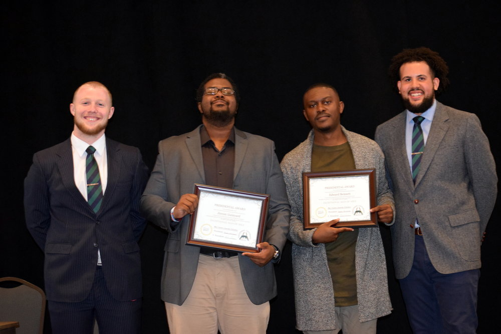 Recipients of the Presidential Award: Juwan Guinyard & Edward Bennett  Left to Right: Vice President - Noah Connor, Juwan Guinyard, Edward Bennett, President - Bryson Barksdale