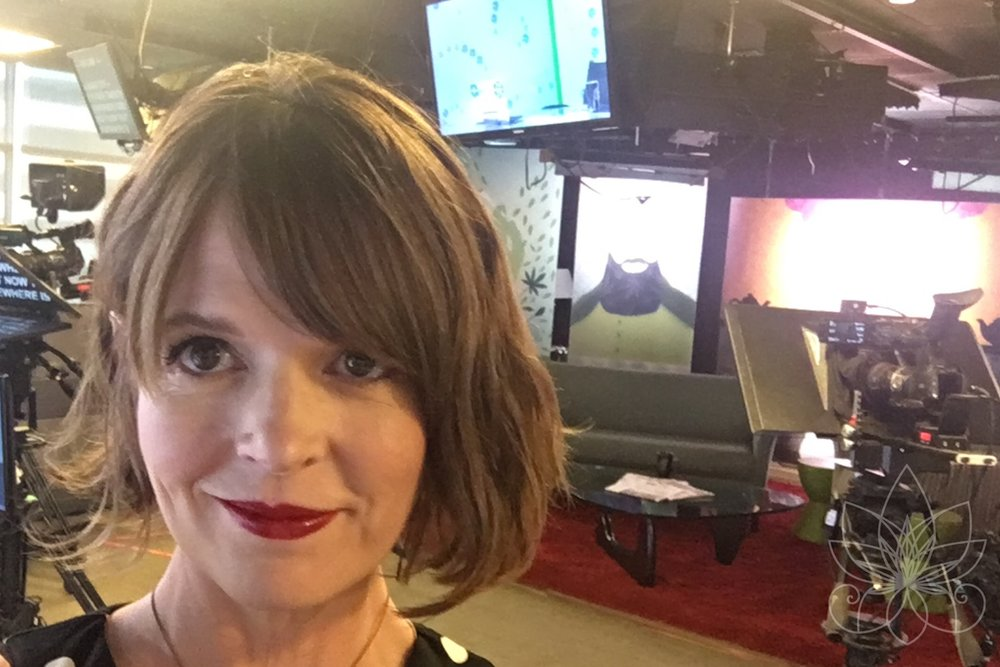 Stacey Mulvey, pre-show selfie on set of The Cannabist Show.