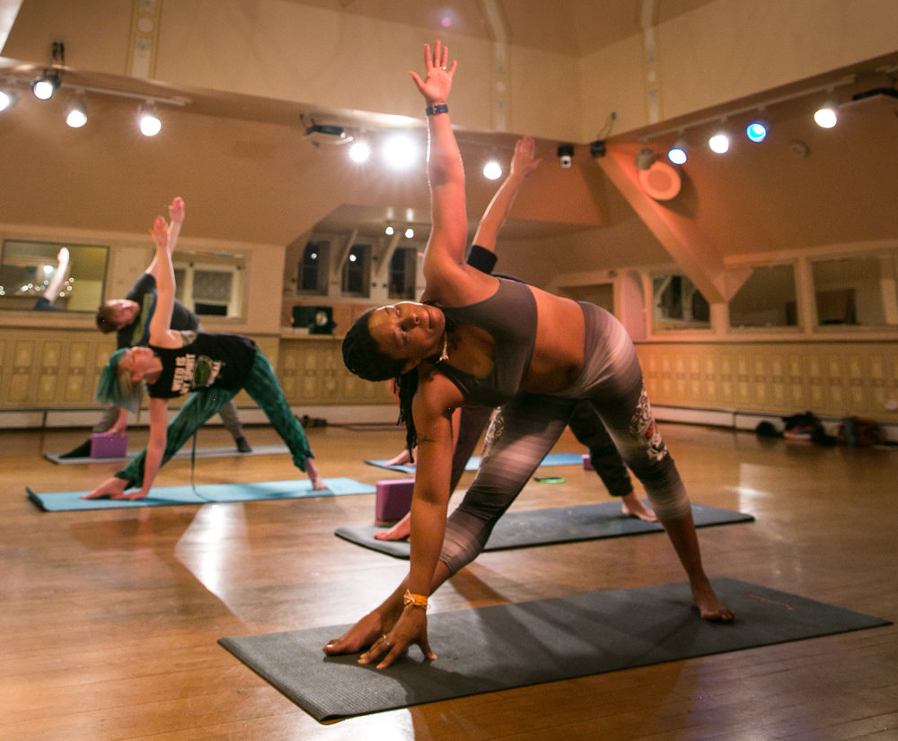 Group yoga pop-ups infused with cannabis.