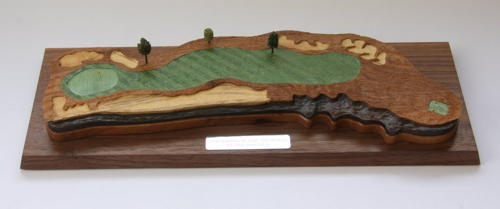 The 18th at Pebble Beach, with the rough sculpted from English elm, the bunkers from boxwood and the rocks from bog oak