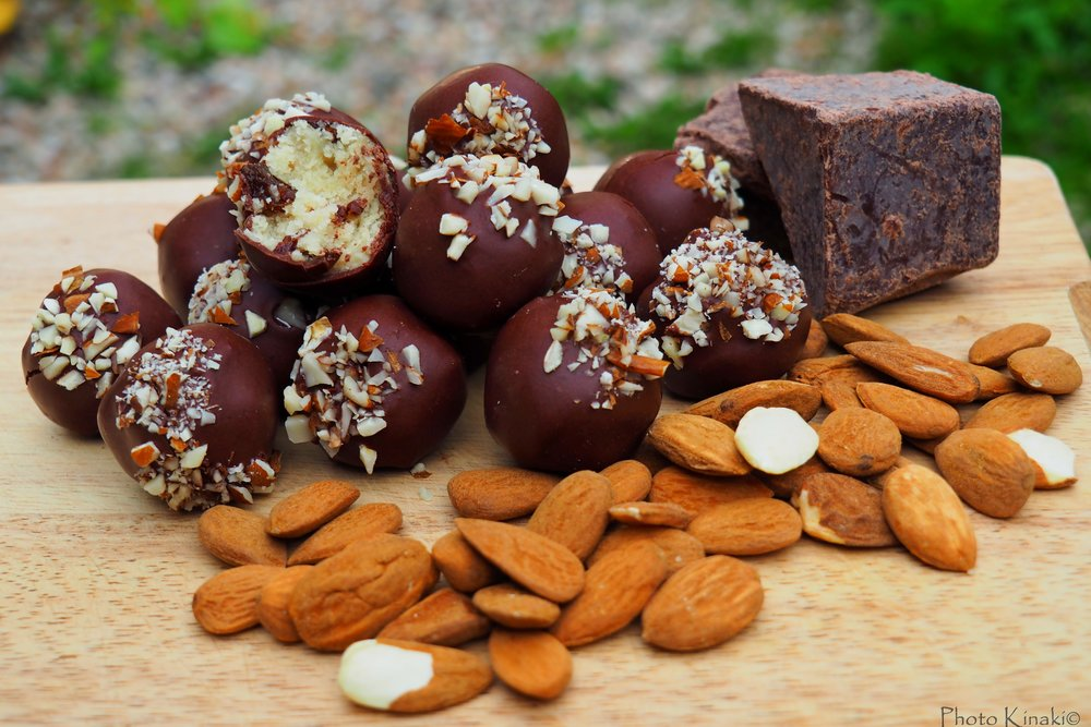Raw Marzipan Truffles with Raisins