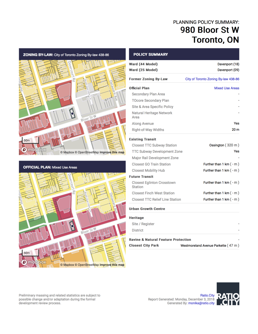 Planning Policy Summary: - Single page report providing an instant summary of all policy layers intersecting a site, including two maps of Zoning By-Law Categories and Official Plan Land Use Layers.