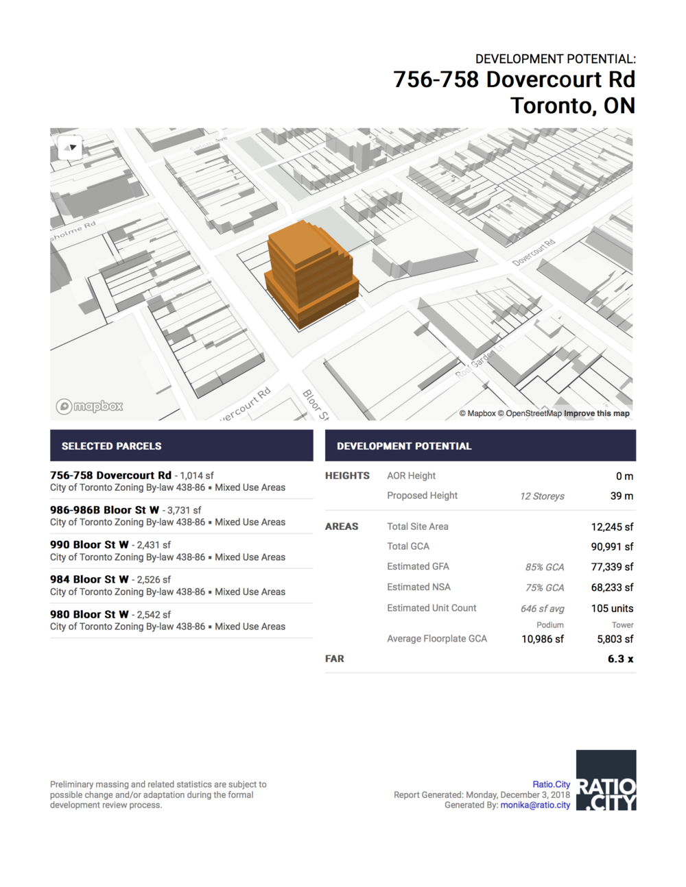 Development Potential: - Multi-page report providing an instant summary of site analysis and built form evaluation, including a customizable view of the 3D Massing Model, list of parcels in land assembly, total site area, GCA, GFA, NSA, density. A second page records the assumptions and inputs (setbacks, angular planes) and provides a detailed floor by floor breakdown of areas.