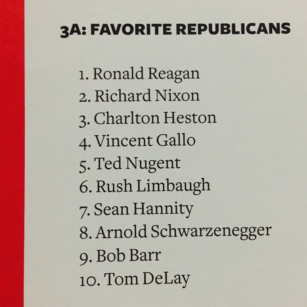 This is Johnny Ramones list of top 10 favorite Republicans for his book Commando.