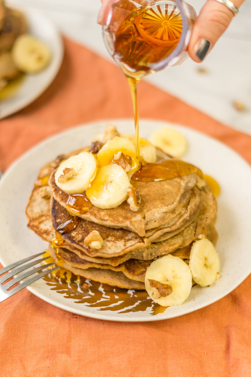 i am rorie, i am rorie recipes, whole foods, vegan food, vegan breakfast, vegan food, vegan breakfast recipes, breakfast recipes, pancake mix, bob's red mill, bob's red mill pancake mix, pancake mix, gluten free pancake mix, paleo pancake mix, gf pancake mix, bananas, mashed bananas, bananas as egg substitute, sub banana for eggs, egg substitute, cinnamon, cinnamon powder, ground cinnamon, vegetable oil, canola oil, milk, almond milk, plant milk, nondairy milk, vegan milk, vegan weekend, vegan brunch, vegan pancakes, easy pancake recipe, quick pancake recipe, banana walnut pancakes, chicago vegan blog, vegan blogger, vegan recipes, chicago blogger, food blogger, vegan food blogger, delicious vegan food, i am rorie food, vegan comfort food, lazy vegan food, easy vegan recipe, simple vegan breakfast, simple vegan recipe