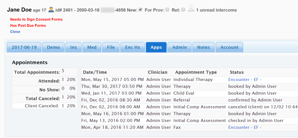 Appointment History at a Glance