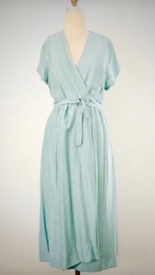 Style: CAD-C0803  Description: Cap-Sleeve Wrap Dress  Fabric: 50% Silk & 50% Linen  Color: Yellow, Aqua, Nude, Gray  Size: S/M, M/L  Wholesale:$135.00