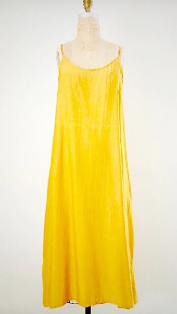 Style: CAT-C002  Description: Cate Tank Dress  Fabric: 50% Silk & 50% Linen  Color: Yellow, Nude, White  Size: S/M, M/L  Wholesale:$110.00 MSRP