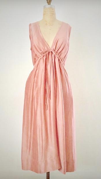 Style: JUL-C007  Description: Julia V-neck Dress  Fabric: 50% Silk & 50% Linen  Color: Rose, Aqua,  Size: S/M, M/L  Wholesale:$135.00