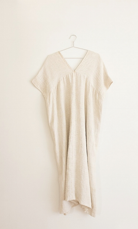 Style#: VHD-H003  Description: V-Neck Hemp Dress W/ Contrast-Stitching  Fabric: 100% Organic Hemp  Color: Natural  One size  Wholesale: $170.00