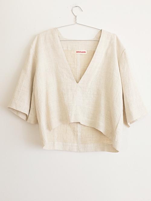 Style#: DVT - -H003  Description: Deep V-Neck Hemp Top  Fabric: 100% Organic Hemp  Color: Natural  One size  Wholesale: $120.00