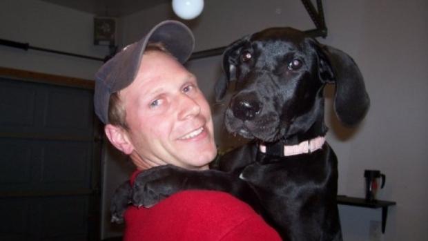 Tim Bosma with his dog.